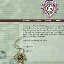 Anna Crista Design-handmade jewelry. web design